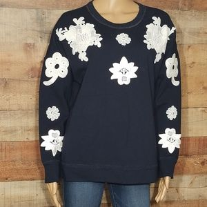 Victoria Beckham blue and white floral sweatshirt